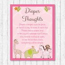 Safari Girl Jungle Animals Diaper Thoughts Late Night Diaper Baby Shower Game #A229