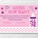 """Pink Chevron Butterfly Printable Baby Shower """"Guess How Many?"""" Game Cards #A249"""