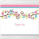 Pink Owl Thank You Card Printable #A162