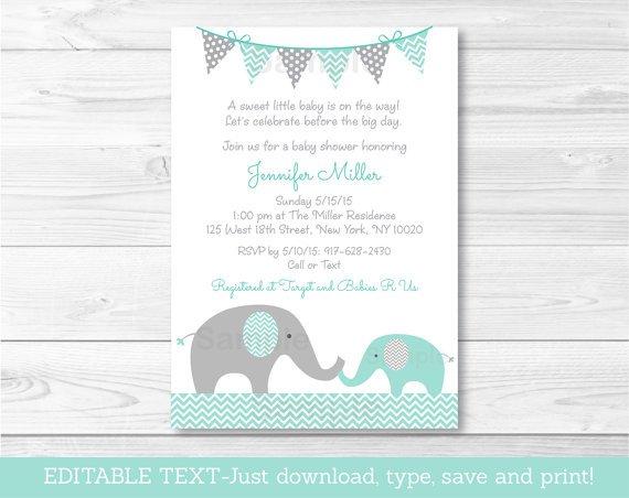 Mint Green & Grey Chevron Elephant Printable Baby Shower Invitation Editable PDF #A375