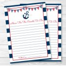 Nautical Anchor Navy Blue & Red Printable Baby Shower Mommy Advice Cards #A259