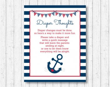 Nautical Anchor Blue & Red Diaper Thoughts Late Night Diaper Baby Shower Game #A259