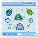 Turtle Reef Sea Turtle Clipart #A144