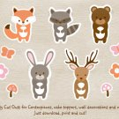 Pink Woodland Animals Party Cutouts Decorations Printable #A340