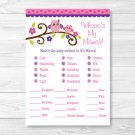 Pink & Purple Owl Baby Shower Baby Animal Match Game Printable #A133