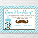 "Little Man Mustache Chevron Printable Baby Shower ""Guess How Many?"" Game Cards #A376"