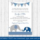 Navy Blue & Grey Chevron Elephant Printable Baby Shower Invitation Editable PDF #A373
