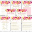 Watercolor Flowers Glitter Confetti Baby Shower Games Pack - 8 Printable Games #A379