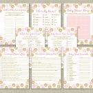 Blush Pink & Gold Glitter Dots Baby Shower Games Pack - 8 Printable Games #A380