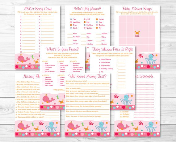 Pink Under The Sea Baby Shower Games Pack - 8 Printable Games #A262