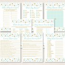 Twinkle Little Star Mint Green Gold Baby Shower Games Pack - 8 Printable Games #A381