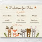 Woodland Forest Animals Baby Shower Baby Predictions Game Cards Printable #A191