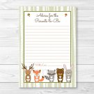 Woodland Forest Animals Printable Baby Shower Mommy Advice Cards #A191