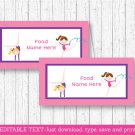 Gymnastics Party Buffet Tent Cards & Place Cards Editable PDF #A383