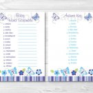 "Lavender Butterfly Garden Printable Baby Shower ""Baby Word Scramble"" Game Cards #A218"