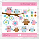 Pink & Turquoise Woodland Owl Clipart #A253