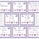 Pink & Purple Butterfly Baby Shower Table Signs - 8 Printable Signs #A220