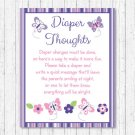 Pink & Purple Butterfly Diaper Thoughts Late Night Diaper Baby Shower Game #A220