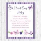 Pink & Purple Butterfly Dont Say Baby Baby Shower Game Printable #A220