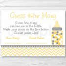 """Yellow Chevron Printable Baby Shower """"Guess How Many?"""" Game Cards #A356"""