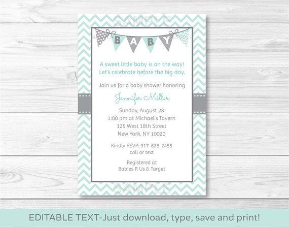 Green Chevron Printable Baby Shower Invitation Editable PDF #A364