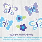 Lavender Butterfly Garden Party Cutouts Decorations Printable #A218