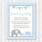 Blue Chevron Elephant Dont Say Baby Baby Shower Game Printable #A187
