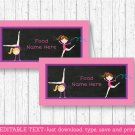 Gymnastics Chalkboard Buffet Tent Cards & Place Cards Editable PDF #A384