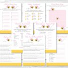 Pink Bumble Bee Baby Shower Games Pack - 8 Printable Games #A101