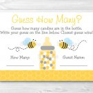 """Bumble Bee Printable Baby Shower """"Guess How Many?"""" Game Cards #A134"""