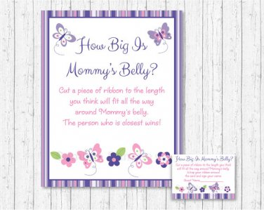 Pink & Purple Butterfly How Big Is Mommys Belly Baby Shower Game #A220