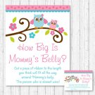 Pink Owl How Big Is Mommys Belly Baby Shower Game #A162