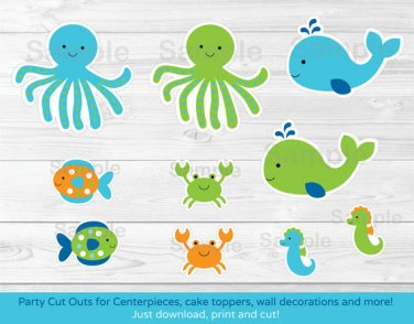 Blue Under The Sea Party Cutouts Decorations Printable #A237