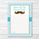 Little Man Mustache Chevron Printable Baby Shower Mommy Advice Cards #A376