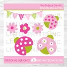 Pink & Green Ladybug Clipart #A108