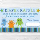 Baby Monsters Printable Baby Shower Diaper Raffle Tickets #A124