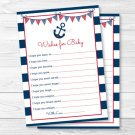 Nautical Anchor Blue & Red Printable Baby Shower Wishes For Baby Advice Cards #A259