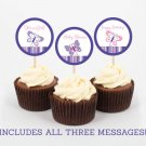 Pink & Purple Butterfly Printable Cupcake Toppers Party Favor Tags #A220