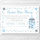 "Blue Twinkle Star Printable Baby Shower ""Guess How Many?"" Game Cards #A362"