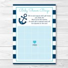 Nautical Anchor Printable Baby Shower Bingo Cards #A222