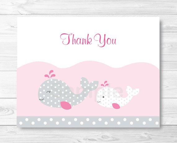 Pink Nautical Whale Thank You Card Printable #A235