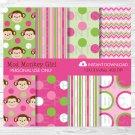 Girl Monkey Pink Stripes Dots & Chevron Digital Paper #A167