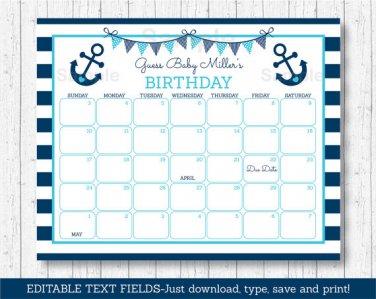 Nautical Anchor Baby Due Date Calendar Editable PDF #A222