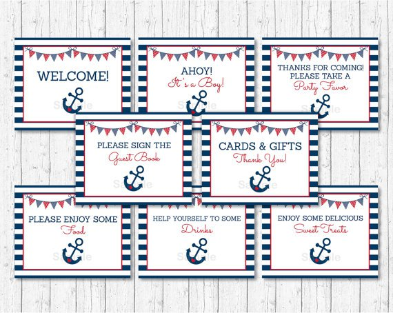 Nautical Anchor Blue & Red Baby Shower Table Signs - 8 Printable Signs #A259