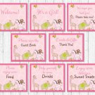Safari Girl Jungle Animals Baby Shower Table Signs - 8 Printable Signs #A229