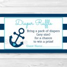 Nautical Anchor Printable Baby Shower Diaper Raffle Tickets #A222