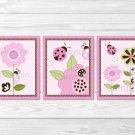 Pink Ladybug Flower Printable Nursery Wall Art #A122