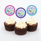 Mermaid Birthday Pool Party Printable Cupcake Toppers Party Favor Tags #A363