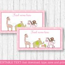 Safari Girl Pink Jungle Animals Buffet Tent Cards & Place Cards Editable PDF #A229