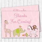 Safari Girl Pink Jungle Animals Party Favor Thank You Tags #A229
